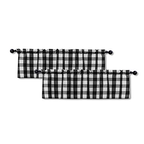 Buffalo Check Valances for Windows Living Room 18 inches Long Classic Gingham Plaid Bedroom Bathroom Rod Pocket Country Farmhouse Kitchen Window Curtain Valances - 2 Pieces, Black & White