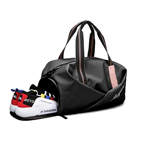 Sports Gym Bag, Waterproof Duffel Bag with Shoes Compartment and Wet Pocket Travel Outdoor Fitness Bag for Women Man (Black-Pink)