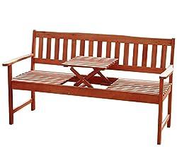 3 Sitzer Gartenbank mit Tisch (integriert, einklappbar)