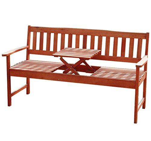KMH®, 3-sitzer Gartenbank (160 cm) aus Eukalyptusholz mit integriertem, einklappbarem Tisch (#101909)