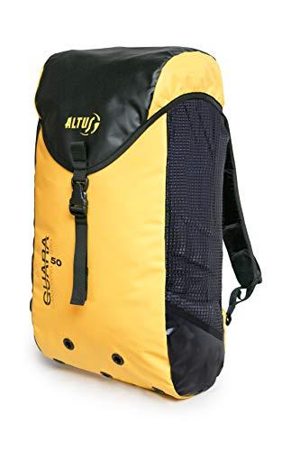 Hecho de poliéster 1100 D con revestimiento de PVC dúplex Compacto, seguro y fuerte. Mochila con una capacidad de 50 litros Disponible en color amarillo. Cinturón con cinta para sujetar la mochila del arnés.