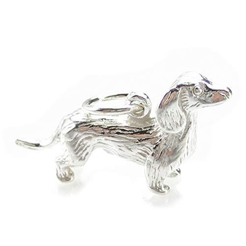 Dachshund Hund Sterling Silber Anhänger .925 x 1 Dackel Hunde Anhänger bj2059