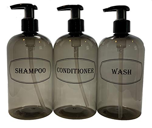 Bottiful Home-16 oz Grey Shampoo, Conditioner, Wash Shower Soap Dispensers-3 Refillable Empty PET Plastic Pump Bottle Shower Containers-Printed Design-Waterproof, Rust-Free, Clog-Free, Drip-Free