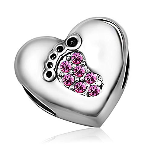KunBead Jewelry Mom Mother Daughter Love Heart Pink Crystal Baby Footprints October Birthstone Charms for Bracelets