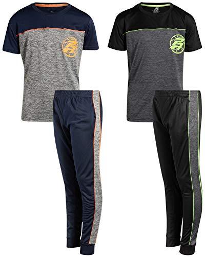 Pro Athlete Boys Performance Tricot Jog Set with Athletic Tee Shirt (4-Piece Set), Size 4,PA