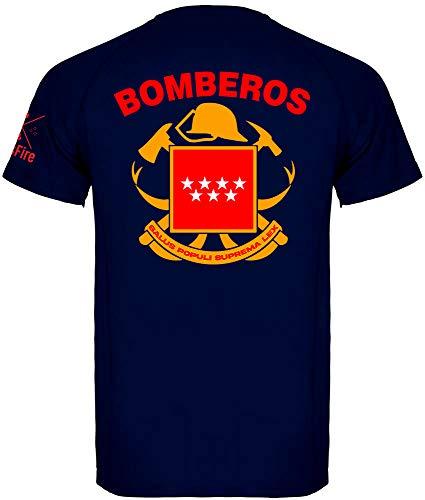 Crossfire Camiseta Técnica de Bombero de la Comunidad de Madrid con Escudo Oficial (Azul Marino, L)