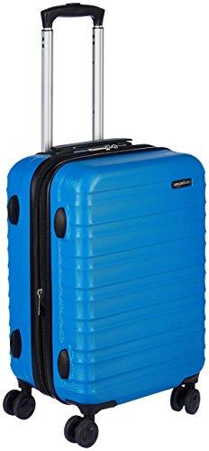 AmazonBasics - Maleta de viaje rígida giratori -  55 cm, Tamaño de cabina, Azul claro