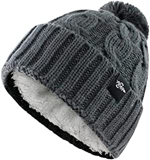 Fear0 Extreme Warm Plush Wool Insulated White Black Knit Cable Pom Pom Skullies Cap Winter Beanie Hat for Women Girl