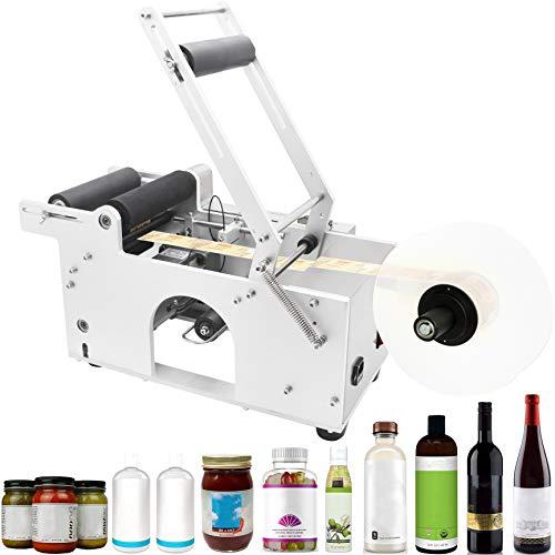 Hanchen Semi-Automatic Round Bottle Labeling Machine, Adjustable Labeler Label Applicator Machine for 15~120mm Bottle 20-40pcs/min