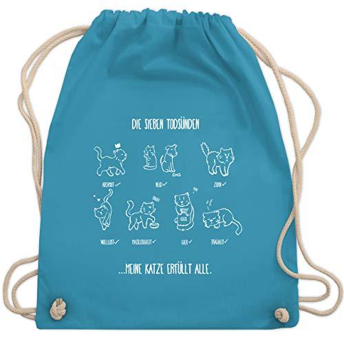 Shirtracer Katzen - witziges Katzenmotiv - Todsünden - Unisize - Hellblau - turnbeutel witzig - WM110 - Turnbeutel und Stoffbeutel aus Baumwolle