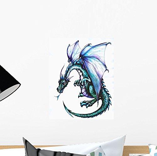 "Wallmonkeys Blue Dragon Wall Decal - 12"" H x 9"" W - Peel and Stick Wall Decal"