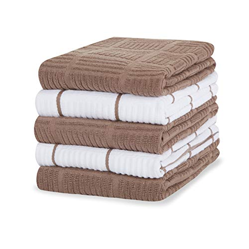 Toffee - Asciugamani da cucina in 100% cotone, confezione da 5 strofinacci da cucina, 40,6 x 71 cm, colore: marrone chiaro, morbidi e assorbenti