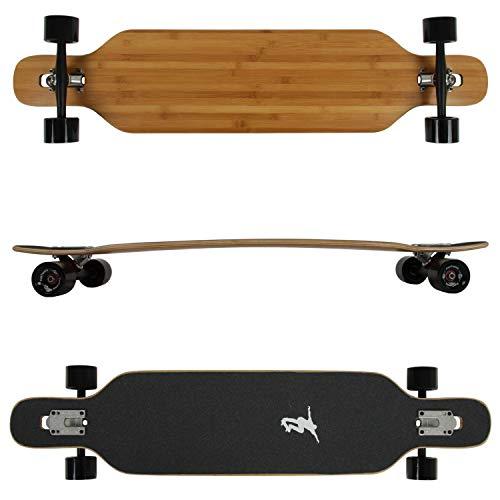 FunTomia Longboard aus Bambus und Ahornholz in 2 Flexstufen - Drop Through Komplettboard mit Mach1 High Speed Kugellager + T-Tool (Flex-3 von 25 bis 68kg - Farbe Blanko)