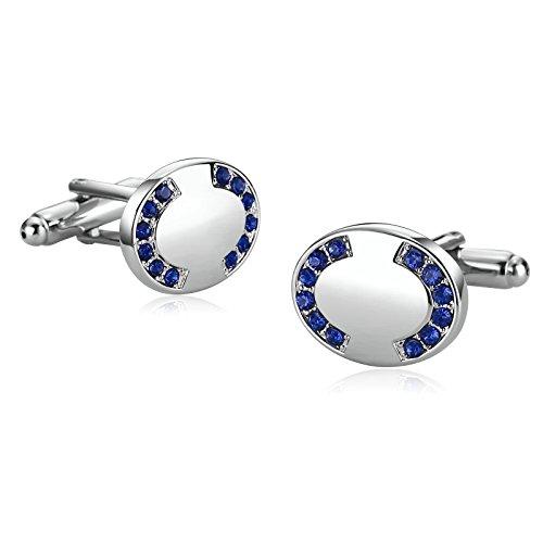 SonMo 1 Paar Manschettenknöpfe Herren Edelstahl Manschettenknöpfe Lustig Oval mit Zirkonia für Business Blau 1.4×1.8 cm mit Geschenkbox