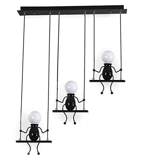 Lampada a Sospensione LED Azanaz, Lampada da Soffitto Creativa design Moderno Lampada a E27 Ideale per Camera da Letto, Cucina, Soggiorno, Ristorante,Cameretta bambini (Nero, 3-fiamma)
