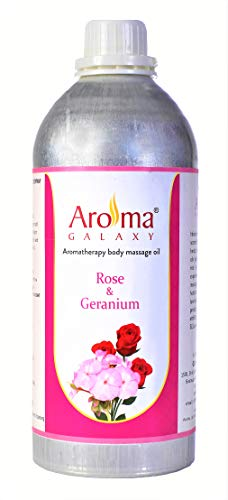 Aroma Galaxy Rose & Geranium Aromatherapy Body Massage Oil, Stress Relief for Body - Suitable for Men, Women & Kid's - 1 Litre Bottle