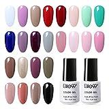 Elite99 Esmaltes Semipermanentes de Uñas en Gel UV LED, 24 Colores de Esmaltes de Uñas Soak off en Gel 7ML 005