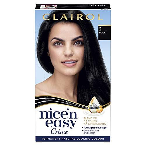 Clairol Nice' n Easy Crème, colorante permanente permanente con aceite de aspecto natural, 2 negro...