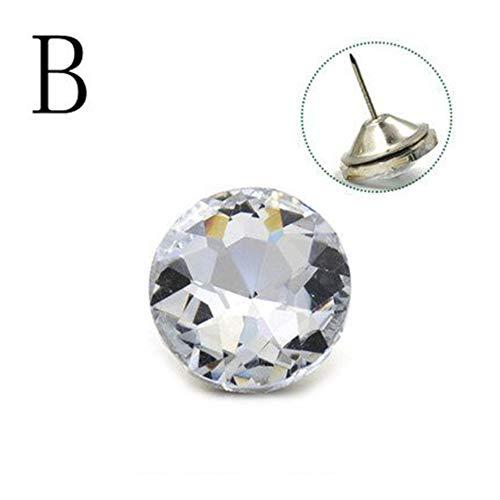 CHWK 10pcs/Lot 20mm 25mm 30mm Acrylic Rhinestones Nails Diamond Pattern Crystal Buttons Upholstery Nail Stud Bag Sofa Bed Headboard,B,25 mm