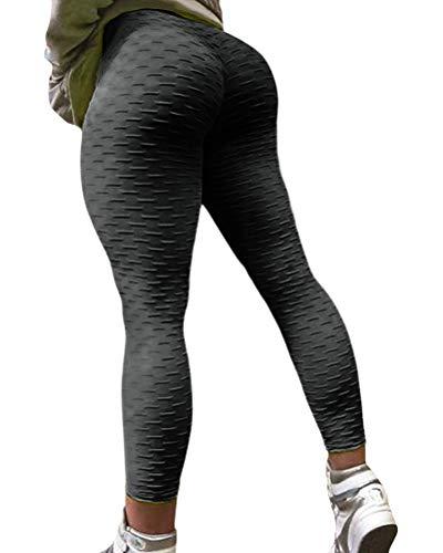 ORANDESIGNE Legging Femme Pantalon de Sport Yoga Fitness Gym Pilates Taille Haute Noir S