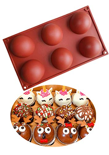 Durable And Thick 6 Half Rebound Circle Round 263 inch Holes Thick Silicone Mold For Chocolate CakeDessertsBaking DIYCupcake Baking Pan kitchen Bakeware