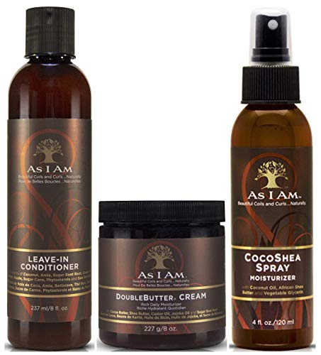 As I Am Leave in Conditioner 237ml, Double Butter Cream 227g and CocoaShea Spray 120ml