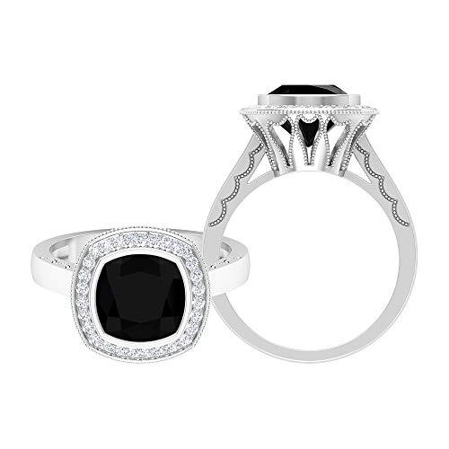 8,5 mm corte cojín anillo solitario espinela negra, D-VSSI Moissanite Halo Anillo, anillo grabado en oro, anillo de compromiso vintage (calidad AAA), 14K Oro blanco, espinela negra, Size:EU 50