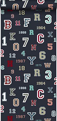 Tapete Zahlen und Buchstaben Dunkelblau - 138833 - von ESTAhome.nl