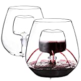 Vencer Set of 2 Stemless Aerating Wine Glass with Removable Glass Heart-shaped Infuser 17OZ/500ML,Groomsmen and Bridesmaid Ideas
