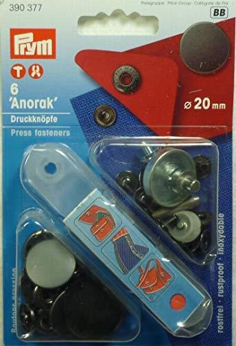 Prym Nähfrei Anorak Druckknöpfe, 20 mm, flach matt, brüniert