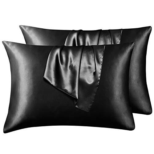 Hansleep Funda Almohada 50x75cm de Satén Negro, Sedoso estándar para 4 Piezas, con Cierre de sobre, Muy Liso Suave de 100% Microfibra, Belleza Facial, Cuidado de la Cara, hipoalergénico