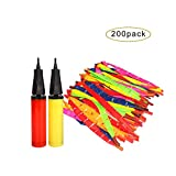 Siwo 200Pcs Rocket Balloons and 2 Air Pumps,Flying Balloon with a Whistling Noise for Assorted Party
