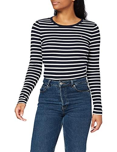 Tommy Hilfiger TH ESS Skinny Open-Nk Rib Top LS Camiseta de Manga Larga, Azul (Classic Breton STP/Dsrt Sky/Wht), L para Mujer