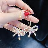HUIQING Pendientes Colgantes de Cristal de Bowknot para Mujer Estilo de niña Pendientes Colgantes de Diamantes de imitación Joyería de declaración
