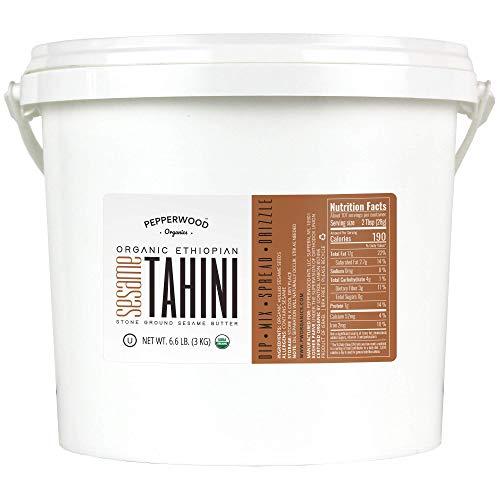 Pepperwood Organic Stone-Ground Ethiopian Sesame Tahini Paste, Hulled, Unsalted, Non-GMO, Gluten-Free, Kosher, Vegan, USDA Organic, Peanut-Free, 14 Ounce (2-Pack)
