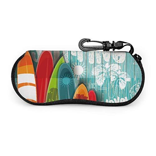 AEMAPE Estuche para gafas Tablas de surf vintage Estuche blando para gafas de sol con cremallera de neopreno portátil unisex