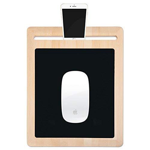 Umweltfreundliches Mauspad mit Telefon & Tablet- Halterung ✮ Anti-Rutsch-Pads & Angenehm für das Handgelenk ✮ Holz-/Bambuswaren Neuheit Gaming Design Mauspad Mobiler Schreibtisch