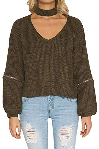 HaiDean Damestrui met lange mouwen hals V Sweatshirt Ripped Eenvoudige Glamoureuze Choker Pullover T-shirt Winter Mode Warm Gebreide Jumper Truien