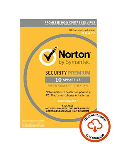 Norton Security Premium 2019 | 10 Appareils | 1 an | PC/Mac/iOS/Android | Téléchargement