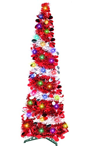 TURNMEON 5 Feet Tinsel Pre-lit Christmas Tree with 50 Color Lights, Pop up Christmas Tree Battery Operated 2 Modes Sequin Ball Ornaments Metal Stand Holiday Xmas Decoration Indoor Home Party Supplies