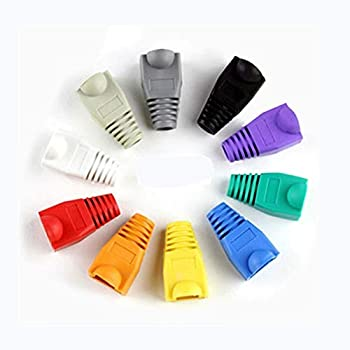 RilexAwhile 100 PCS 10 Colors Soft Plastic CAT5E CAT6 Ethernet RJ45 Cable Cap Connector Boots Plug Cover Strain Relief Boots  100 PCS 10 Colors