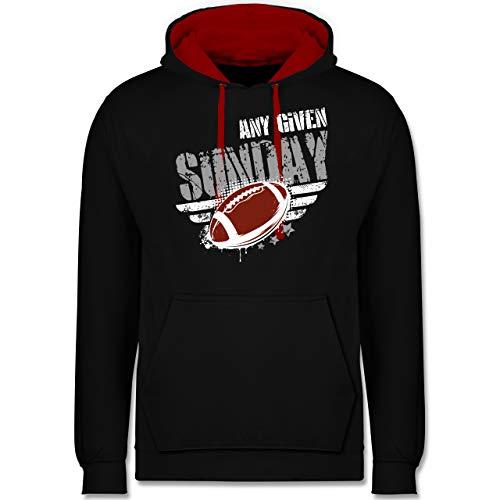 Shirtracer American Football Outfit Trikot - Any Given Sunday Football - 5XL - Schwarz/Rot - Tampa Bay Hoodie - JH003 - Hoodie zweifarbig und Kapuzenpullover für Herren und Damen