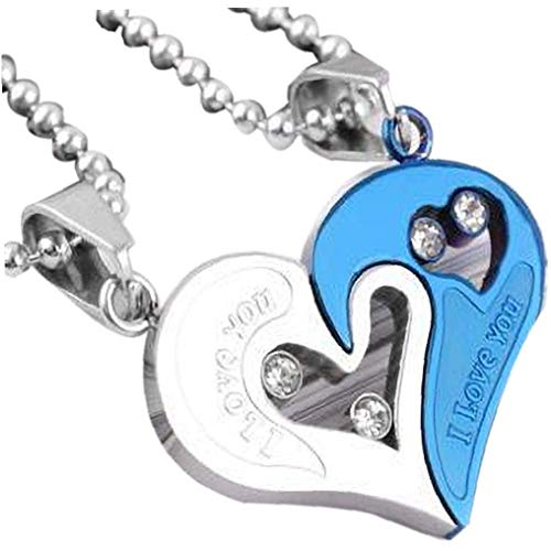 DINEGG Collares Collares Colgante Amor Heart Key Puzzle Puzzle Changker Cadena para Hombres Mujeres 2pcs QQQNE (Color : Style 1)