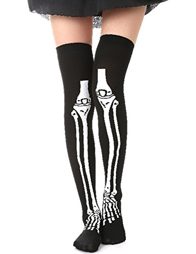 Thee - Calze decorate con scheletro, per costume di Halloween Pantyhose