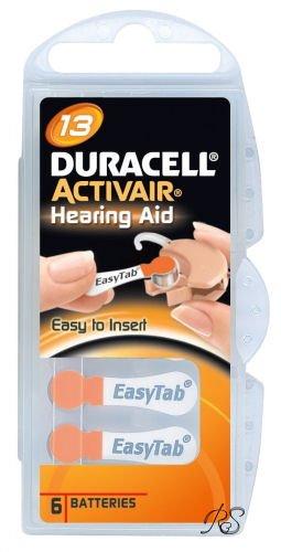 30X Batterie per apparecchi acustici Duracell Activair 13Arancione