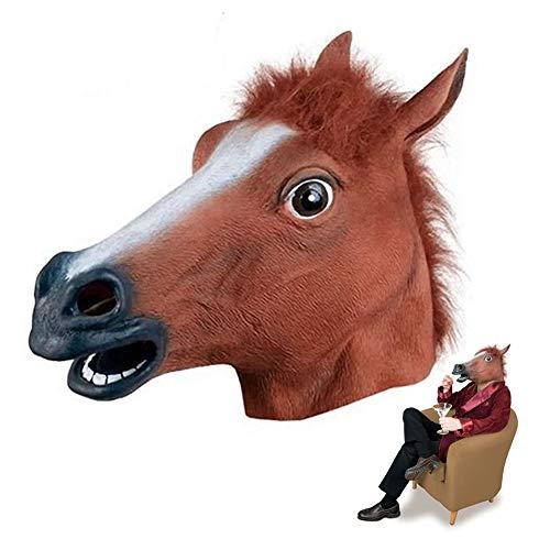 ASOSMOS Realistico Testa di Cavallo Maschere per Tutta la Testa Pelliccia criniera in Lattice Animale Maschera per Halloween Party Costume Puntelli