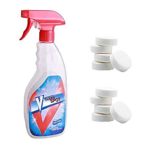 Multi Functional efervescent Spray Cleaner Set, Limpiador de espray efervescente para todo hogar de limpieza con 1 botella de spray Concentrado Home Cleaning Tool (10 piezas con botella)