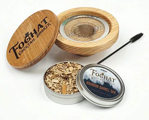 Foghat Fumador de cóctel con virutas de madera de barril de bourbon | infusa cócteles, vino, whisky, queso, carnes, frutas secas, sal y mucho más. | Accesorios de cristal para fumar Cloche