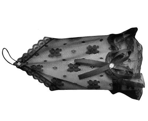 DangerousFX Mooie dames kant halve handschoenen in Victoriaanse stijl met straatgotische steentjes, maskerkostuum