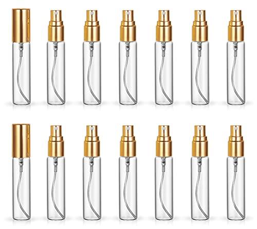 Paquete de 20 unidades de 10 ml de repuesto para atomizador a granel de viaje botella de perfume hidratante botella vacía (tapas doradas)